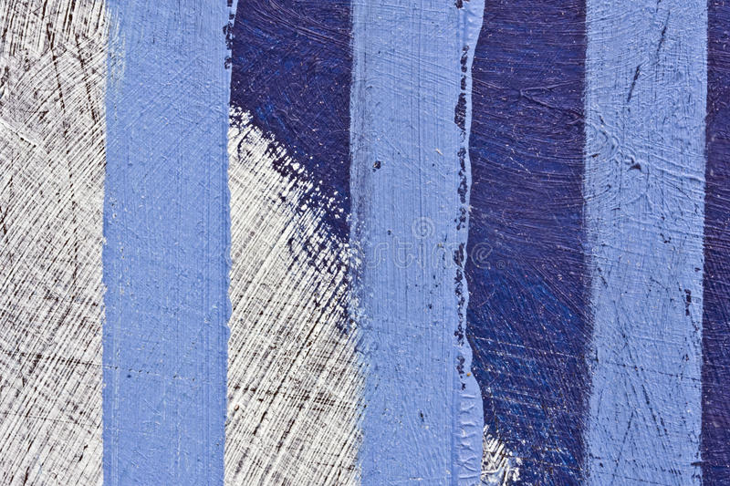 Abstract painting. A detail of a roughly painted abstract picture, with blue three vertical lines stock photos