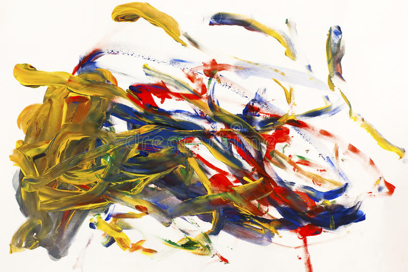 Abstract Painting. With colorful flicks on a white background stock photos