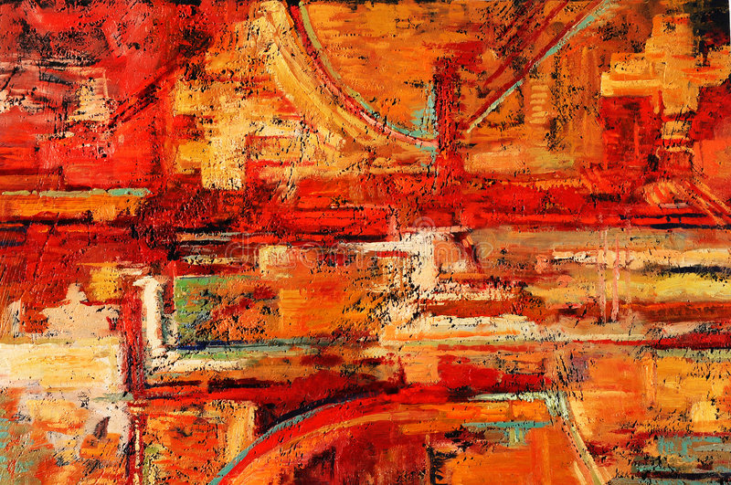 Abstract Painting. Abstract oil painting in reds and yellows