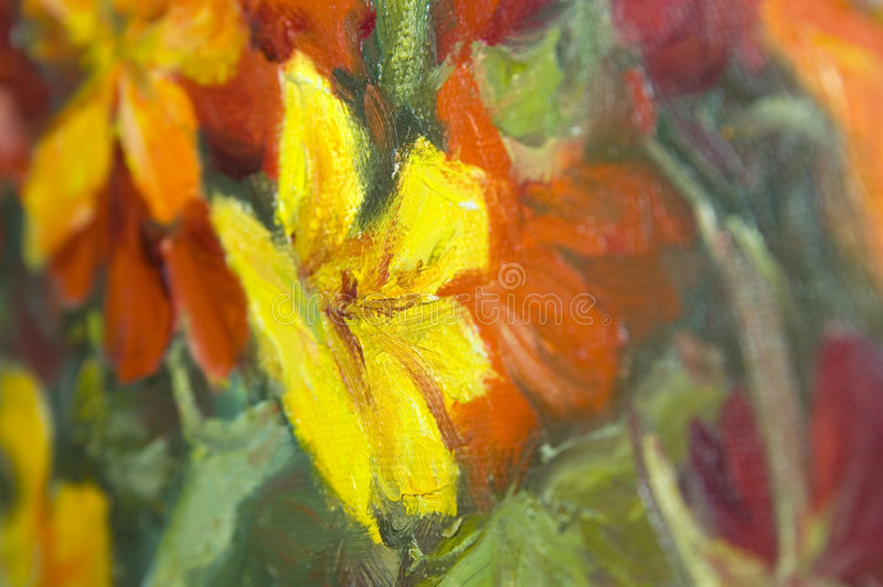 Abstract painting. An abstract painting of red, yellow and orange close up royalty free stock image