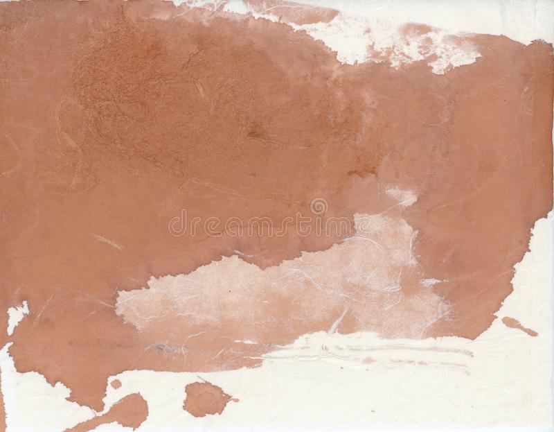 Abstract Painting Brown Ink Spill On Asian Paper royalty free illustration