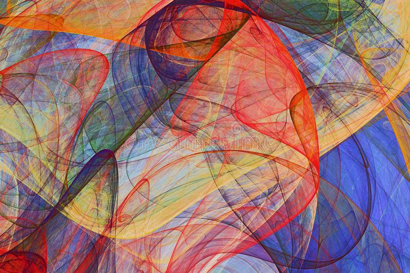 Abstract painting background of colorful fluttering veils. Abstract background of colorful fluttering veils - colored psychedelic painting artwork stock illustration