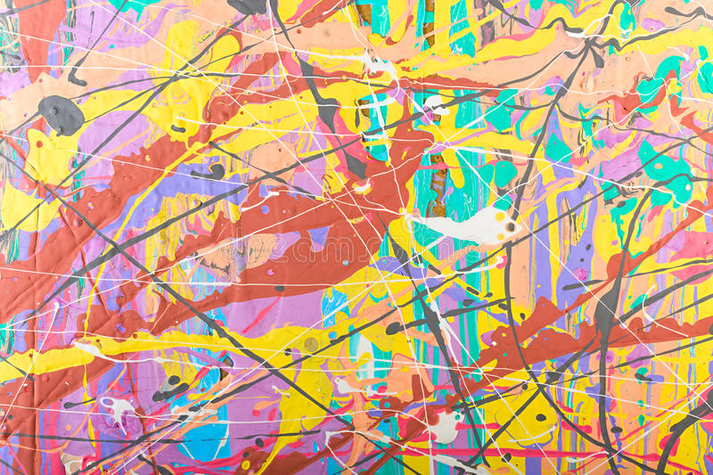 Abstract painting background illustration. Fragment abstract modern painting background with expressive splashes of paint. Acrylic on cardboard. Old chapped and stock illustration