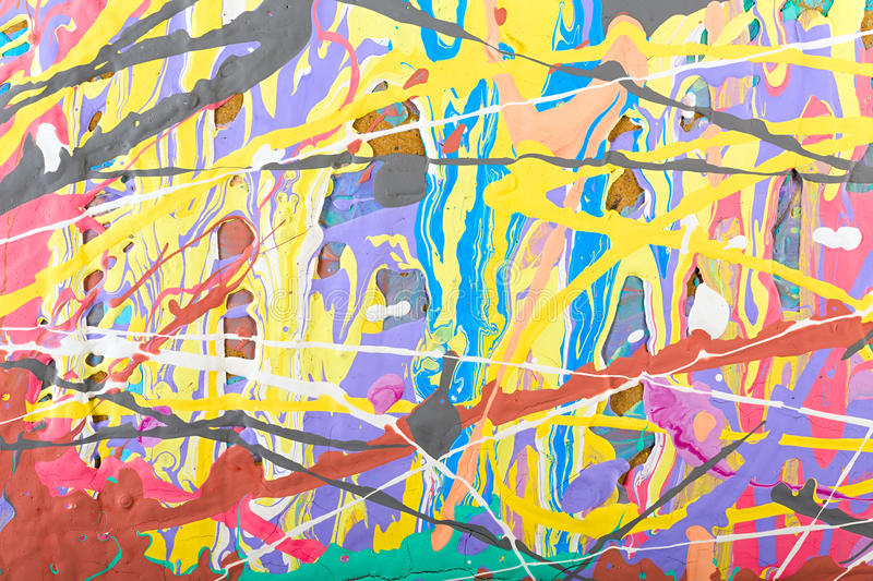 Abstract painting background illustration. Fragment abstract modern painting background with expressive splashes of paint. Acrylic on cardboard. Old chapped and royalty free illustration