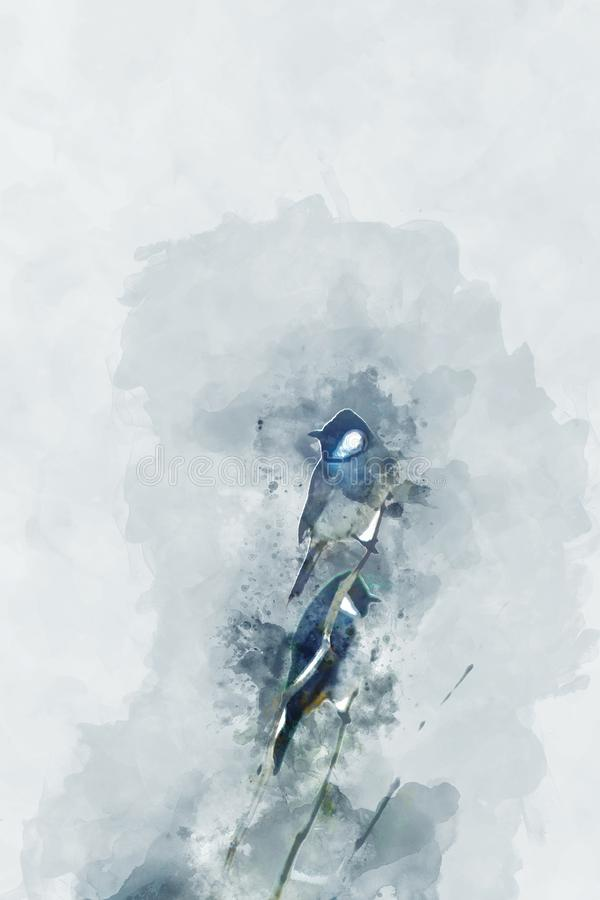 Abstract painting of birds in cool tone, digital watercolor painting stock illustration