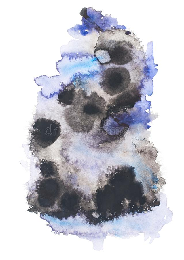 Abstract painting with black and blue paint blots. On white stock photo