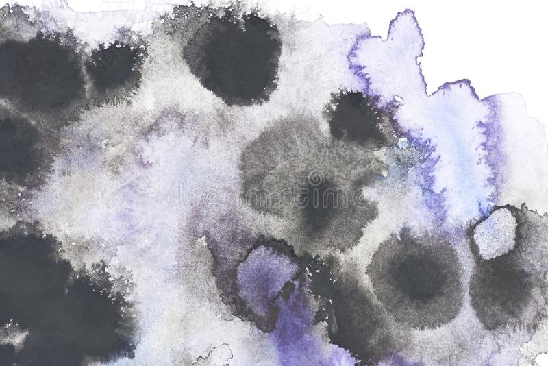 Abstract painting with black and blue paint blots royalty free stock photography
