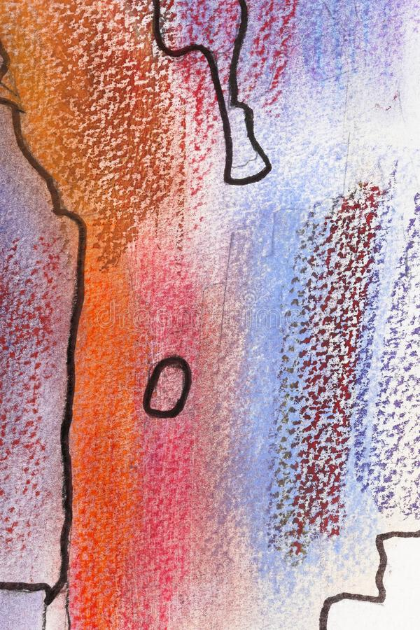 Abstract painting with black lines. A close up of an abstract soft pastels painting with black lines royalty free stock photo