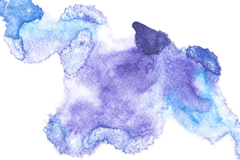 Abstract painting with blue paint blots. On white stock image