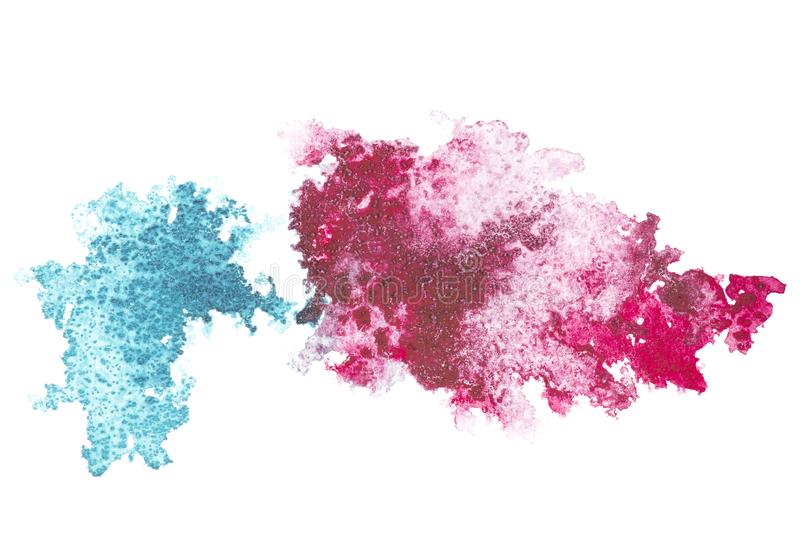 Abstract painting with blue and pink paint blots. On white stock photos