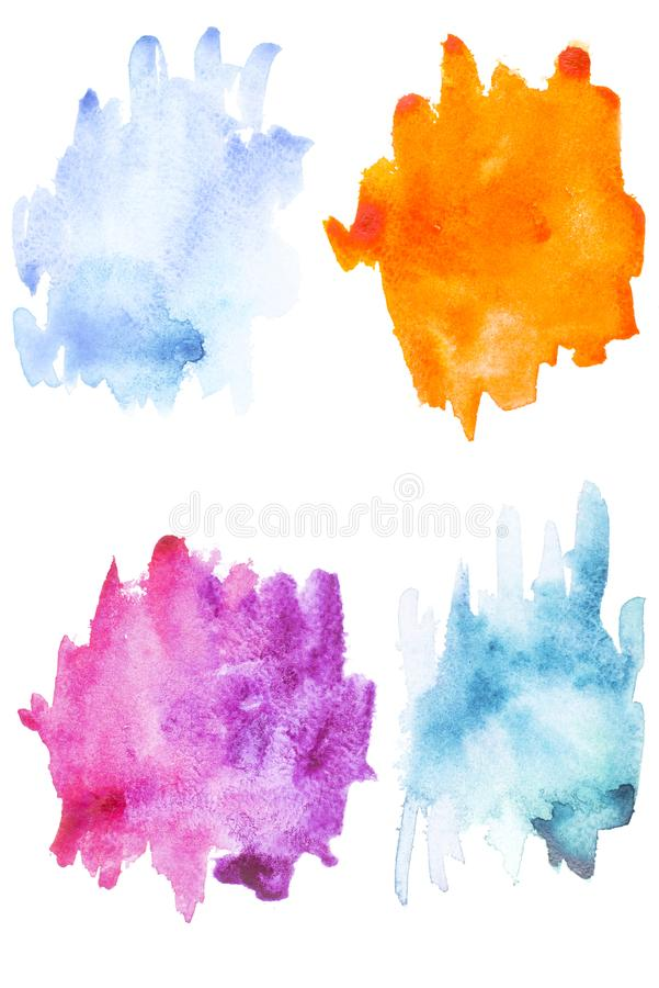 Abstract painting with blue, purple and orange paint blots and strokes. On white stock photos