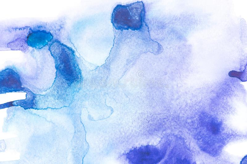 Abstract painting with blue watercolour paint spots stock photography