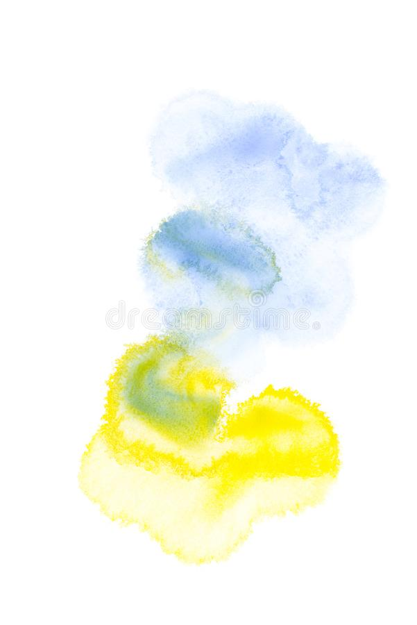 Abstract painting with blue, yellow and green paint blots. On white royalty free stock images