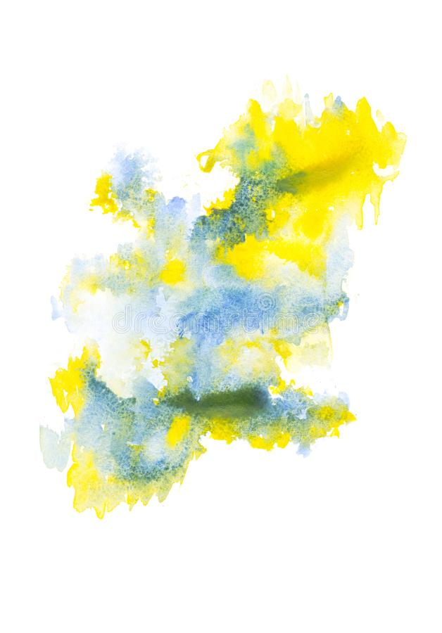 Abstract painting with blue and yellow watercolor paint blots. On white stock image