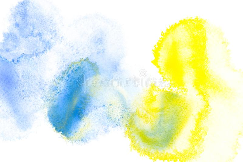 Abstract painting with bright blue and yellow paint blots. On white stock images