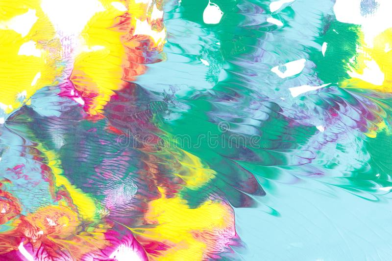 Abstract painting with bright colorful paint blots. On white stock image