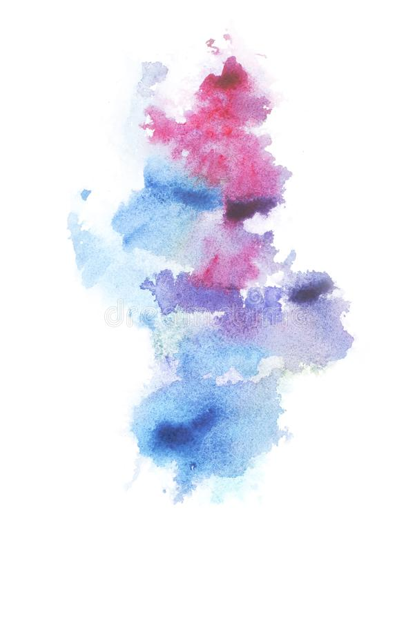 Abstract painting with bright colorful watercolour paint blots and spots. On white royalty free stock images