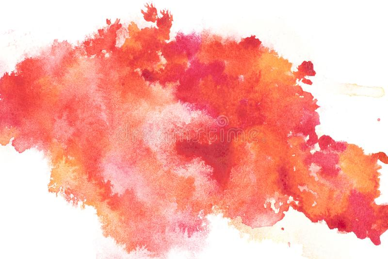 Abstract painting with bright red and orange paint blots royalty free stock photo