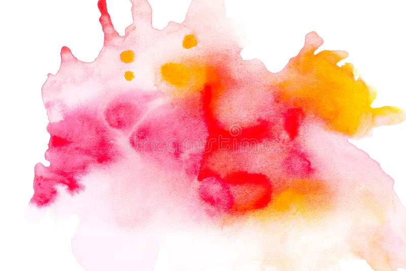 Abstract painting with bright red, pink and orange watercolour paint blots. On white stock photography