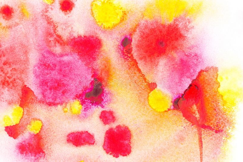 Abstract painting with bright red, pink and yellow watercolor paint blots. On white stock images