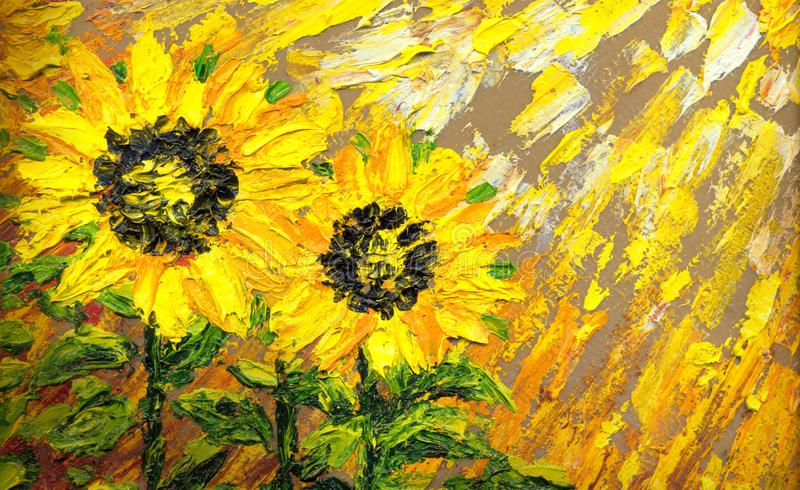 Abstract painting. Bright sunflowers on the field royalty free illustration