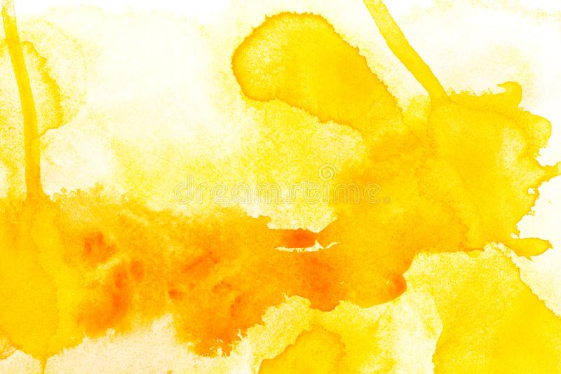 Abstract painting with bright yellow paint blots. On white stock photo