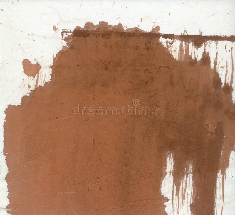 Abstract Painting Brown Paint Spilled On Asian Paper stock photos