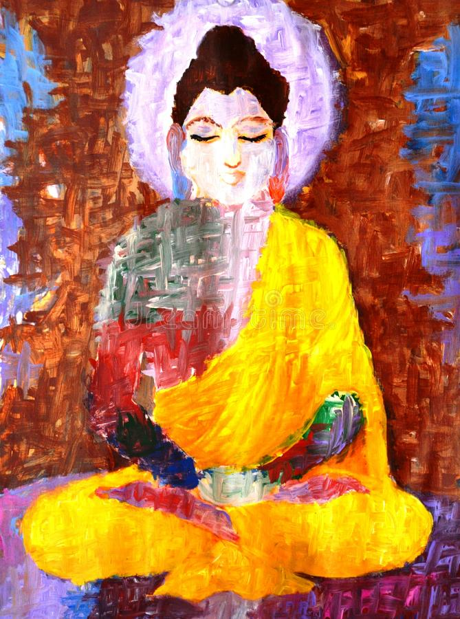 Abstract painting of buddha. Doing meditation stock illustration