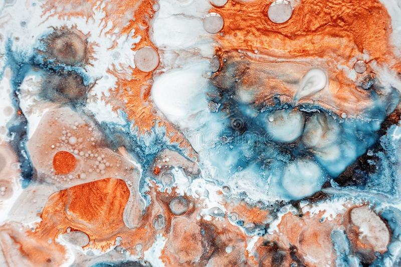 Abstract painting, can be used as a trendy background for wallpapers, posters, cards, invitations, websites. Modern. Artwork. Marble effect painting. Mixed blue stock photos