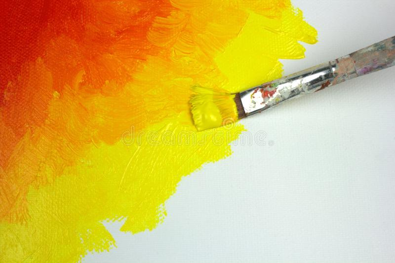 Abstract painting on canvas. With red , orange, yellow colors stock photography