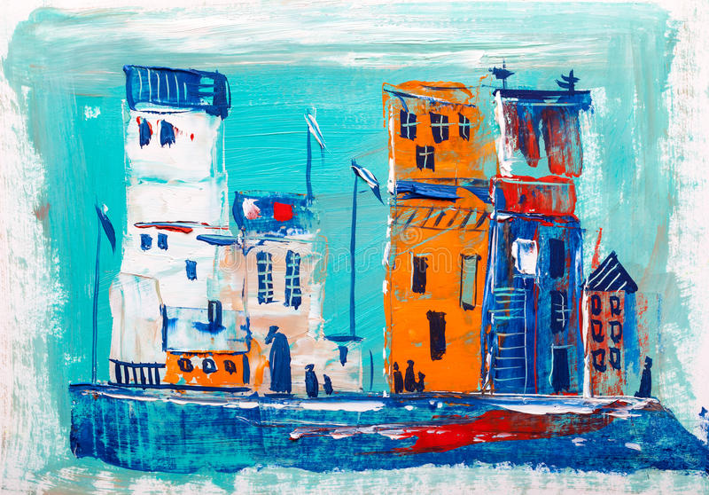 Abstract painting of city buildings stock illustration