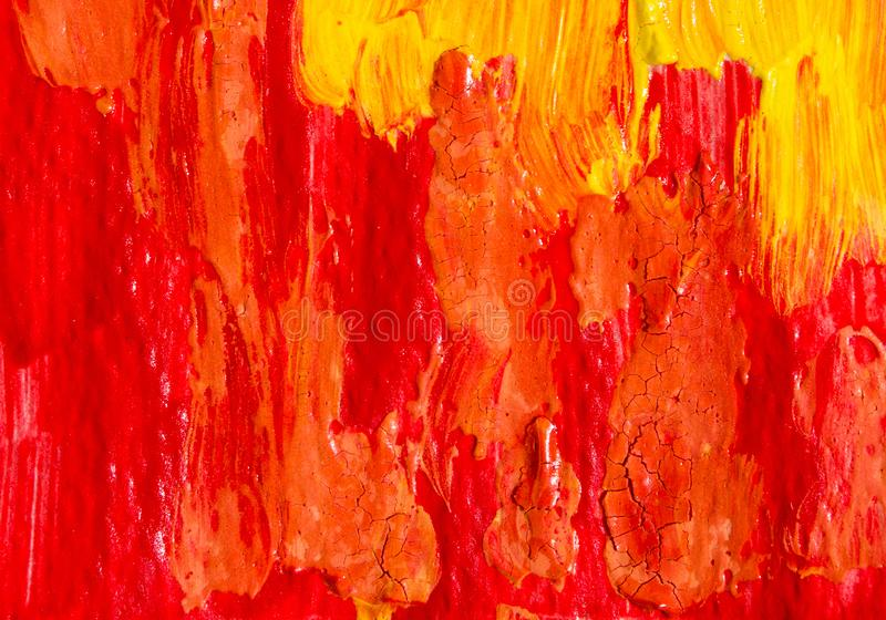 Abstract painting color texture. Bright artistic. Background in red and yellow stock photo