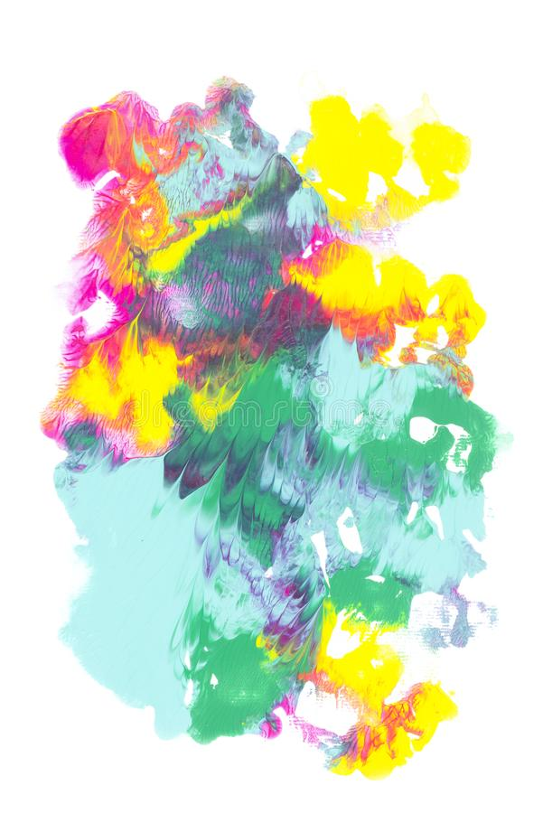 Abstract painting with colorful bright paint blots. On white royalty free stock photography