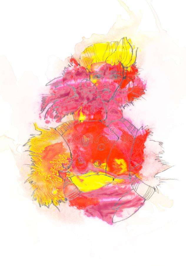 Abstract painting with colorful paint blots and female figure vector illustration