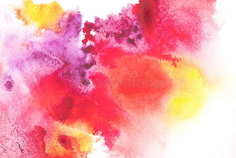 Abstract painting with colorful paint blots. On white royalty free stock image