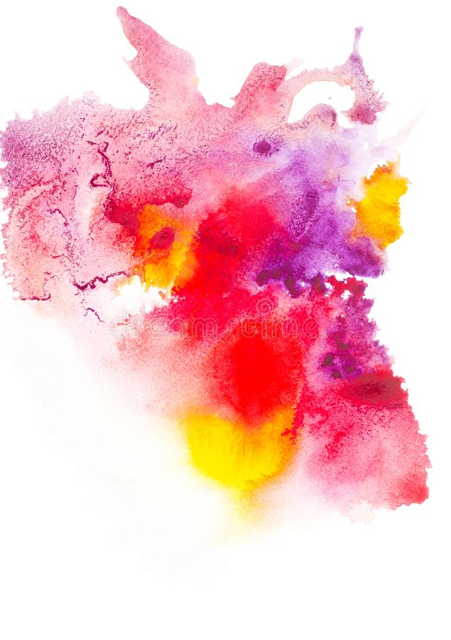 Abstract painting with colorful watercolor paint blots. On white royalty free stock image