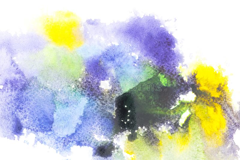 Abstract painting with colorful watercolor paint blots. On white stock photos