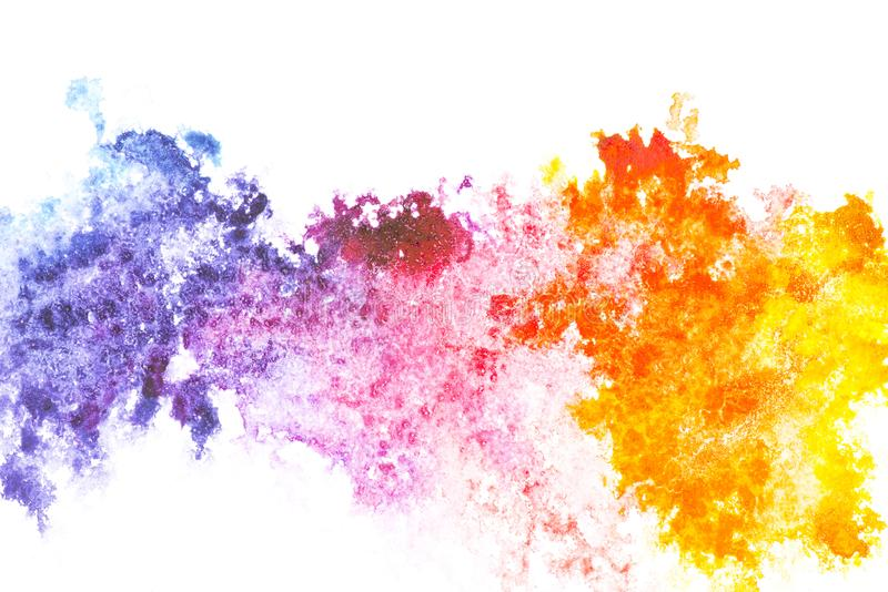 Abstract painting with colorful watercolor paint spots stock photography