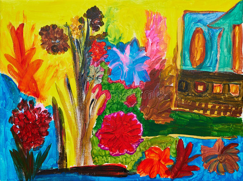 Abstract painting. With field of flowers, river and house on the river bank royalty free stock image