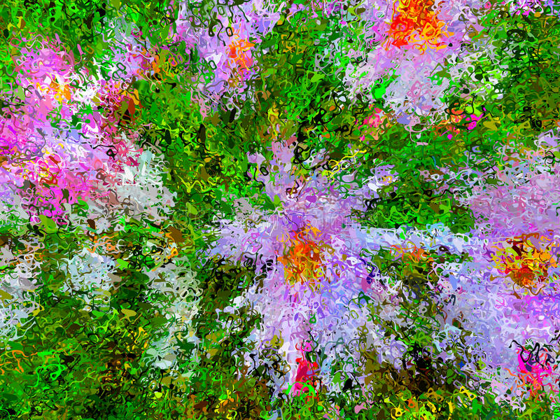 Abstract painting of flowers in the garden royalty free illustration