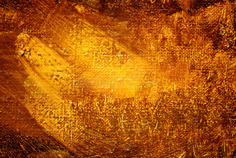 Abstract painting, gold luminescence, background stock illustration
