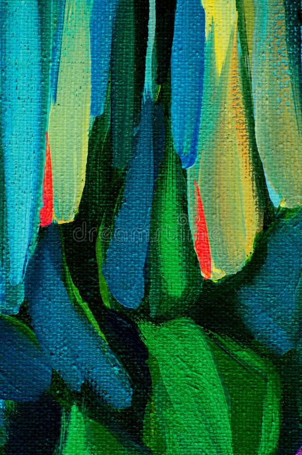 Abstract painting with green blue spots, illustration royalty free illustration