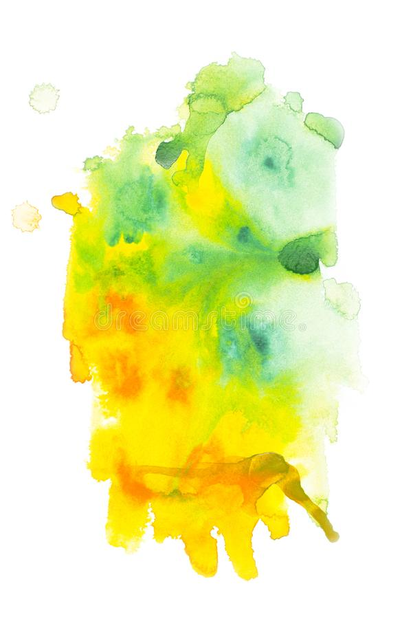 Abstract painting with green and yellow paint blots. On white royalty free stock photo