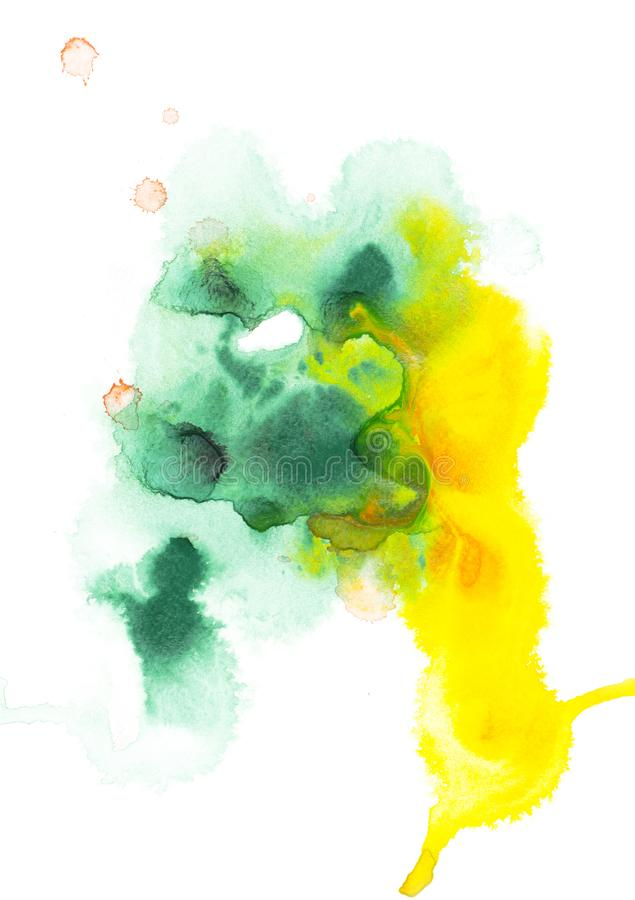 Abstract painting with green and yellow watercolor paint blots. On white royalty free stock photography