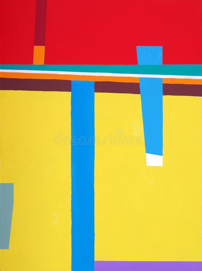 An abstract painting; hard edged geometric abstraction in red, yellow, and blue.  royalty free stock photos