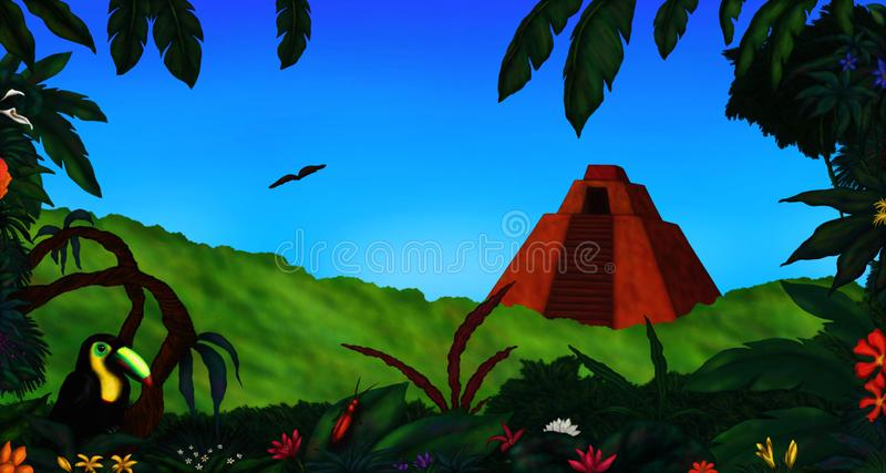 Ancient Pyramid in Mexican Jungle Rainforest royalty free stock images