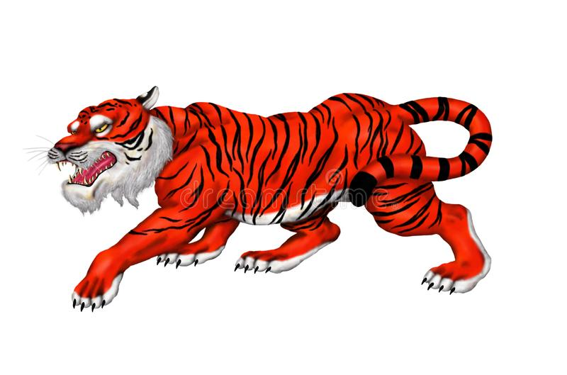 Giant fearsome indian bengal tiger prowling and growling 2018 stock illustration