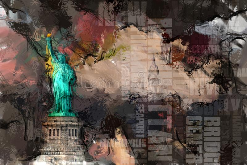 Liberty. Abstract painting. Liberty statue. 3D rendering stock illustration
