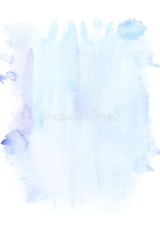 Abstract painting with light blue paint blots and strokes. On white stock photos