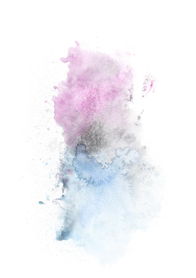 Abstract painting with light blue and purple paint blots. On white royalty free stock photos